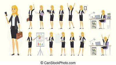 Bonita mujer de negocios, vector de dibujos animados