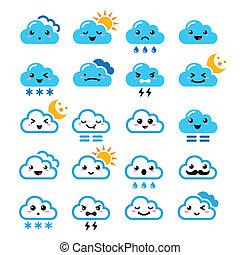 Bonita nube, kawaii, iconos manga