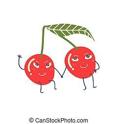 Bonita pareja de cerezas maduras cogidas de la mano, adorables frutas divertidas ilustraciones de personajes de dibujos animados