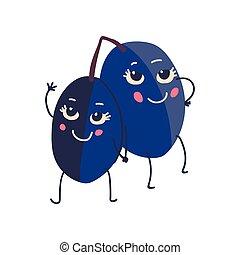 Bonita pareja de ciruelas con caras graciosas, adorables dibujos animados de personajes de dibujos animados de frutas, ilustración de vectores