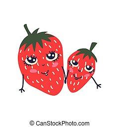 Bonita pareja de fresas maduras con caras sonrientes, adorables y divertidas frutas ilustraciones de personajes de dibujos animados