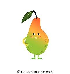 Bonita pera dulce, gracioso personaje de dibujos animados de frutas con ilustración graciosa de vectores faciales