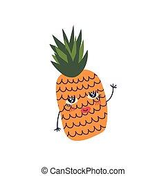 Bonita piña madura con cara graciosa, dulce y adorable dibujo animado de personajes de dibujos animados de frutas ilustrados