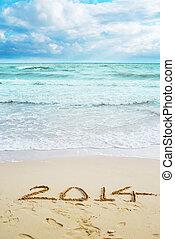 Bonita vista en la playa con signos de 2014
