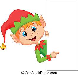 Bonitas caricaturas de elfos de Navidad señalando