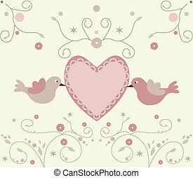 Bonitas flores y aves