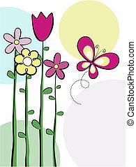 Bonitas flores y vector mariposa