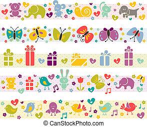 Bonitas fronteras con iconos de bebés.