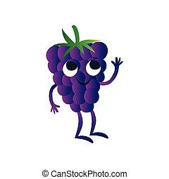 Bonito blackberry, gracioso personaje de caricatura de bayas con graciosa ilustración de vectores faciales