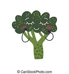 Bonito brócoli con cara sonriente, adorable dibujo animado de dibujos animados de vegetales divertidos ilustración vectorial