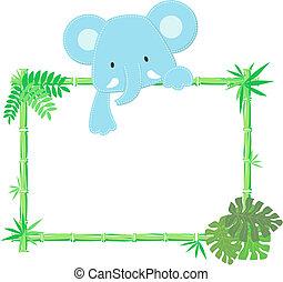 Bonito marco de elefante bebé