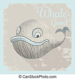 Bonito póster de vector con una ballena