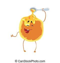 Bonito panqueque de dibujos animados con miel y carita sonriente, divertido vector de comida rápida vector de la ilustración