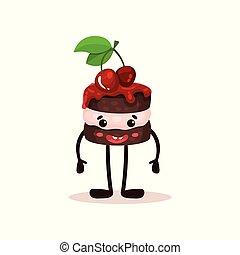 Bonito pastel con cerezas y cara graciosa, caricatura humanizada de caricatura de caricatura de postre vector de ilustración en un fondo blanco