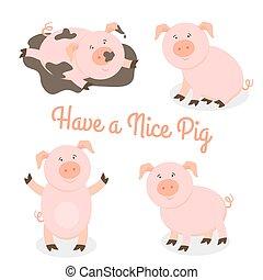 Bonito vector de dibujos animados de cerdos