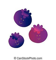 Bonitos arándanos, divertidos personajes de dibujos animados con caras graciosas ilustraciones vectoriales