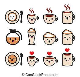 Bonitos iconos de café kawaii
