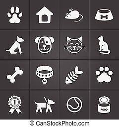 Bonitos iconos de mascota en negro. Vector
