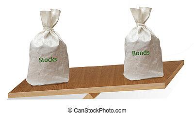bonos, entre, balance, cartera, acciones