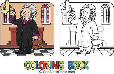 book., alfabeto, abc, juez, colorido, j., profesión