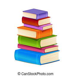 books., pila, colorido