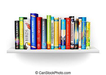 Bookshelf con libros de color de tapa dura