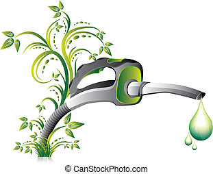 boquilla, bomba, verde, combustible