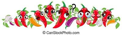border., pimienta, lindo, caricatura, emoji, vegetales, chile