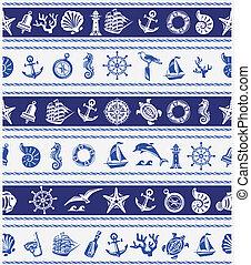 Borders con símbolos náuticos y marinos
