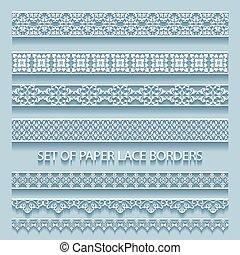 borders., decorativo, conjunto, elementos, ilustración, colección, encaje, papel, volumétrico