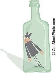 borracho, dentro, botella