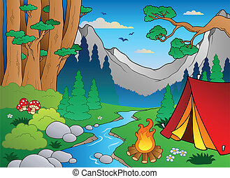 bosque, 4, paisaje, caricatura