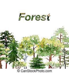 Bosque acuarela: árboles, arbustos de roble