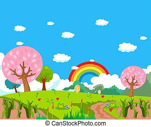Bosque, arco iris y fondo de granja