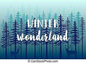 Bosque azul de invierno, vector