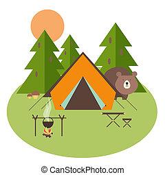 bosque, campamento