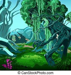 Bosque de magia. Mover árboles. Ilustración de primer plano del vector.