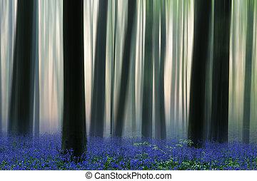Bosque de primavera cubierto de flores silvestres de las campanillas