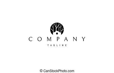 bosque, fondo., silueta, imagen, vector, resumen, logotipo, casa
