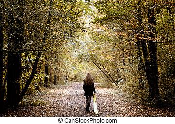 bosque, solamente, ambulante, mujer, triste