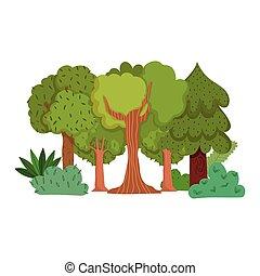 bosque, verdor, follaje, pasto o césped, árboles, diseño, arbustos, caricatura, hojas