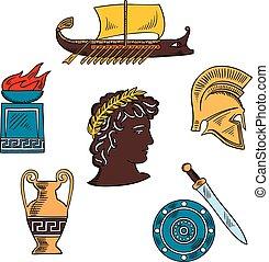 bosquejo, arte antigua, colorido, grecia, historia