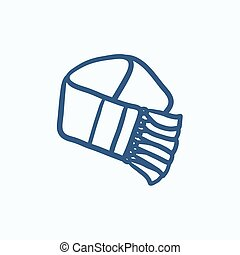 bosquejo, bufanda, icon.