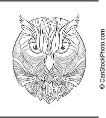 bosquejo, colorido, colorido, owl., adulto, brillante, impresión