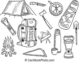 bosquejo, conjunto, -, campamento