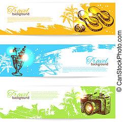 bosquejo, conjunto, holoday, colorido, viaje, mano, tropical, salpicadura, backgrounds., ilustraciones, dibujado, banderas, bandera