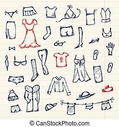bosquejo, diseño, su, colección, ropa