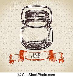 bosquejo, envase, tarro, rústico, albañil, vendimia, dibujado, mano, design.