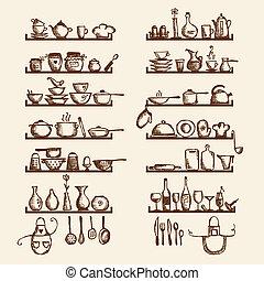 bosquejo, estantes, su, utensilios, diseño, dibujo, cocina