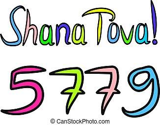bosquejo, fondo., vector, feliz, tova, 5779, inscripción, hashanah., draw., mano, shana, aislado, rosh, ilustración, letras, translated, garabato